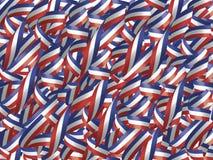 Nastri in rosso, in bianco ed azzurro Fotografia Stock