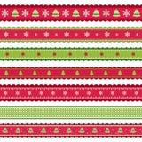 Nastri verdi rossi di Christmass Fotografie Stock Libere da Diritti