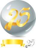 Nastro 25 dell'oro Immagine Stock Libera da Diritti
