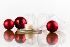 Nastro bianco rosso della boccetta Fotografia Stock