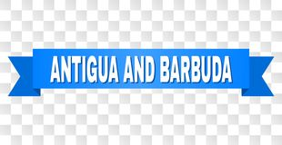 Nastro blu con il testo dell'ANTIGUA E BARBUDA illustrazione di stock