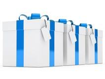 Nastro blu dei contenitori di regalo Fotografie Stock Libere da Diritti