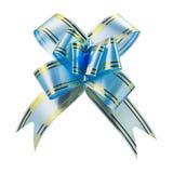 Nastro blu dell'arco del regalo Fotografie Stock