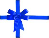 Nastro blu ed arco Fotografia Stock