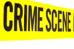 Nastro chiaro della scena del crimine Immagini Stock Libere da Diritti