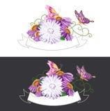 Nastro d'annata con i fiori Illustrazione di Stock