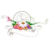 Nastro d'annata con i fiori Illustrazione Vettoriale