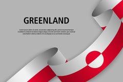 Nastro d'ondeggiamento con la bandiera della Groenlandia, illustrazione di stock