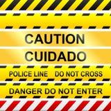 Nastro dei segni e della polizia di avvertenza - vettore Fotografie Stock Libere da Diritti