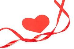 Nastro del biglietto di S. Valentino con i cuori Fotografia Stock