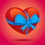 Nastro del cuore con un arco Fotografie Stock Libere da Diritti