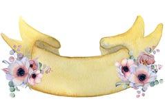 Nastro dell'acquerello con l'insegna disegnata a mano dei mazzi floreali Fotografia Stock