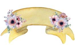 Nastro dell'acquerello con l'insegna disegnata a mano dei mazzi floreali Fotografie Stock