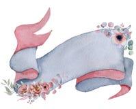 Nastro dell'acquerello con l'insegna disegnata a mano dei mazzi floreali Immagine Stock