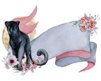 Nastro dell'acquerello con la pantera nera, i mazzi floreali e l'insegna disegnata a mano della luna Fotografia Stock