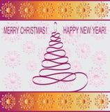Nastro dell'albero di Natale Cartolina d'auguri di progettazione illustrazione vettoriale