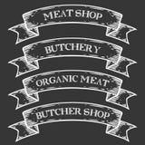Nastro dell'emblema della macelleria del mercato della macelleria Incisione d'annata dell'insieme medievale monocromatico Fotografia Stock