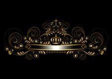 Nastro dell'oro con una corona e un incrocio su un fondo nero Fotografie Stock Libere da Diritti