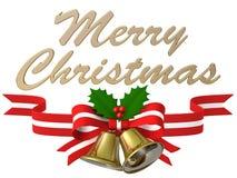 Nastro della campana di Natale, illustrazione 3D Immagine Stock
