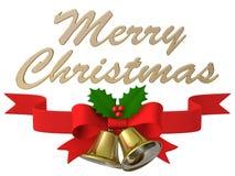 Nastro della campana di Natale, illustrazione 3D Immagine Stock Libera da Diritti