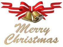 Nastro della campana di Natale, illustrazione 3D Fotografie Stock