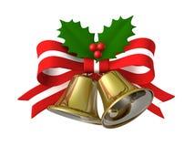 Nastro della campana di Natale, illustrazione 3D Fotografia Stock