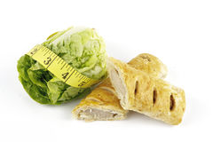 nastro della salsiccia dell'insalata del rullo di misura del lettace Immagine Stock Libera da Diritti