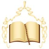 Nastro di carta di Grunge con l'arco ed il libro Illustrazione Vettoriale