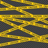 Nastro di cautela Confine della striscia della polizia Nastro nero e giallo di cautela su fondo trasparente illustrazione di stock