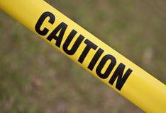 Nastro di colore giallo di avvertenza Fotografia Stock Libera da Diritti