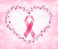 Nastro di consapevolezza del cancro al seno nel cuore Immagine Stock