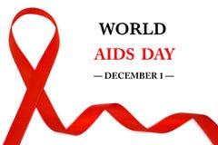 Nastro di consapevolezza di Giornata mondiale contro l'AIDS 1° dicembre fotografie stock