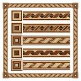 Nastro di legno dell'ornamento del confine, pavimento di parquet di progettazione Immagine Stock