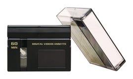 Nastro di MiniDV con la cassa - isolata fotografie stock