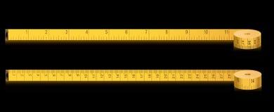 Nastro di misura - pollici e centimetri Fotografie Stock