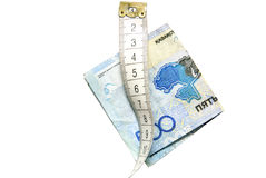 Nastro di misurazione del sarto con soldi Immagine Stock Libera da Diritti