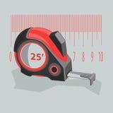 Nastro di misurazione di colore rosso su un fondo grigio Fotografia Stock Libera da Diritti