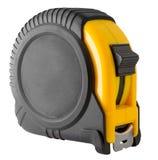 Nastro di misurazione nero e giallo isolato Fotografia Stock Libera da Diritti