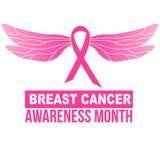 Nastro di rosa di consapevolezza del cancro al seno con le ali della libellula illustrazione di stock