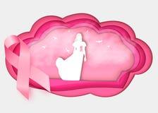 nastro di rosa di consapevolezza del cancro al seno 3d su bianco illustrazione di stock