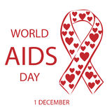 Nastro di rosso del cuore di Giornata mondiale contro l'AIDS Fotografia Stock