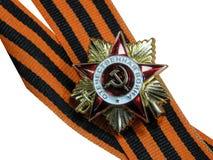 Nastro di St George con una medaglia Fotografia Stock Libera da Diritti