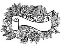 Nastro disegnato a mano sui precedenti floreali del doole Illustrazione di vettore Fotografie Stock