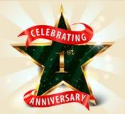 nastro dorato della stella di celebrazione di anniversario di 1 anno royalty illustrazione gratis