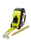 Nastro e matita di misurazione gialli Fotografie Stock Libere da Diritti