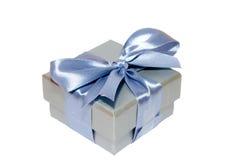 Nastro e scatola d'argento Immagini Stock