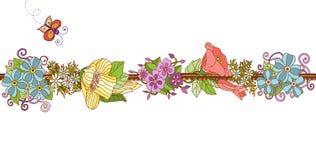 Nastro floreale variopinto isolato. Illustrazione Vettoriale