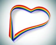 Nastro in forma di cuore dell'arcobaleno fotografia stock libera da diritti
