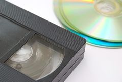Nastro magnetico vecchio e Cd di VHS Fotografie Stock