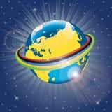 Nastro olimpico intorno al pianeta Earth.Vector Illus Immagine Stock